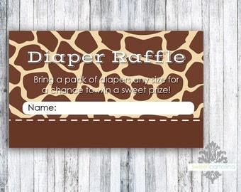 Diaper Raffle - Baby Shower - Giraffe - Animal Print