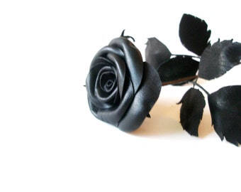 Leather Rose -Black Flower, Long Stem leather rose, 3rd Gift anniversary,