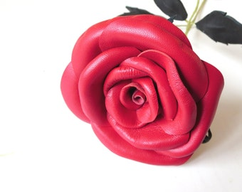 Red rose -Sexy flower - Long Stem Rose-Red rose / Leather Rose /Anniv Gift Wedding Anniversary Free shipping