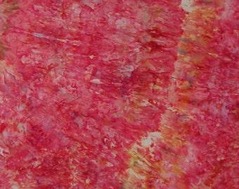 Hand Dyed Ice Dyed Fabric Quilt Cotton, Strawberry Pie, 1/2 Yard (MH) #42