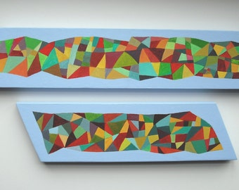 Abstract Triangles Composition #7 (Pair of Paintings Sold Together)