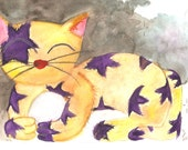 Cat art print , Kitty art print , Cat art , Whimsical cat art , Purple Star , Whimsical kitty art print , great gift for cat people , whimsy