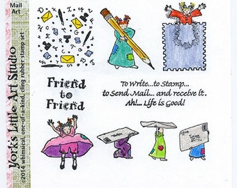 Mail Art Rubber Stamp Set of 7 on Cling
