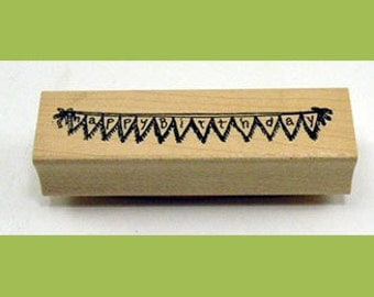 Happy Birthday Banner Rubber Stamp
