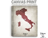 Italy Map Stretched Canvas Print - Home Is Where The Heart Is Love Map - Original Personalized Map Print on Canvas