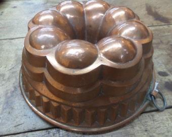 Antique German Copper Mold  Vintage Food Mold Gelatin Mold Jello Mold Bunt Cake Primitive Kitchen French Cooking Bake Bakery
