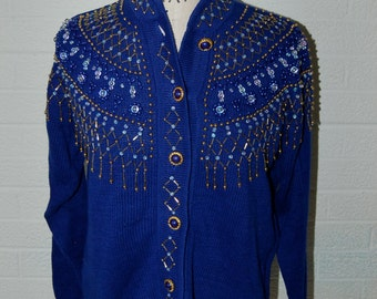 Vintage OVERSIZED Maurada Cotton Blend Deep Royal Purple Beaded Cardigan Sweater S