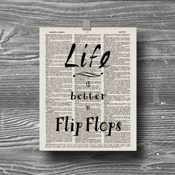 life is better in flip flops typographic beach art print shell ocean quote poster inspirational book page typography 8x10 home decor