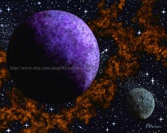 purple orange space galaxy painting - photo #4