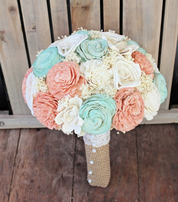 Rustic Wedding Color Ideas: Handmade Wedding Bouquet Large Peach Mint Ivory By