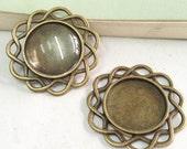 15pcs Cabochon Base - Antique Bronze Round Flower Bezel Charm Pendants 20mm F504-3