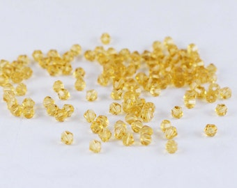 1 Strand 118pcs Faceted Bicone Crystal Glass Loose Beads 4mm Jewelry Findings - Golden