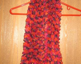 Women's Hand Knit Scarf- Crush