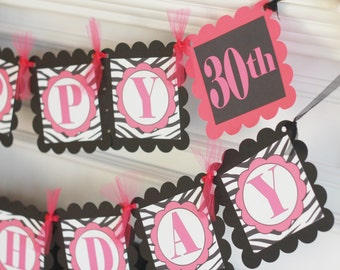 Happy Birthday Hot Pink Black 21 30 40 50 65 Theme Banner - Can Also Be a Bachelorette Banner - Free Ship Over 65.00