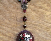 POPPIES:  Momento Mori Necklace with Raven, Skull and Poppies on deep red enamel vintage brass locket Signed and OOAK