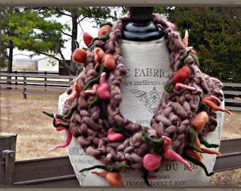Beautiful Flower Bouquet Art Cowl - Handspun Art Yarn/Infinity Scarf