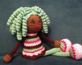 Crochet African Doll in Spumoni Ice Cream Colors, Plush curls twists Locks Natural Black Green Hair Stuffed Toy Baby Girl Gift MADE TO ORDER