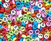 Rainbow Letter Beads acrylic 7mm, 500 pcs