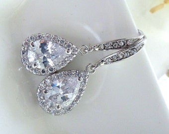 Bridal Earring - High Quality Small White Clear Peardrop Cubic Zirconia with White Gold Plated CZ Earrings