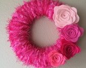 Yarn Wreath Handmade Felt Decoration- 8 inch
