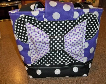 Girls Minnie Mouse Scripture Bag, Purse or Tote, Purple and White Polka dot