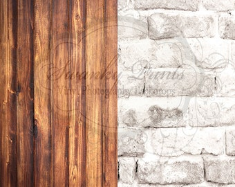 PRODUCT DROPS Two Vinyl Photography Backdrop 3ft x 3ft COMBO / Warm Brick Dark Grunge Wood
