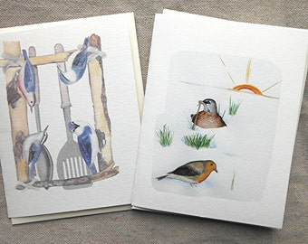 Bird Note Card Set of 6 North American Birds with European Robin