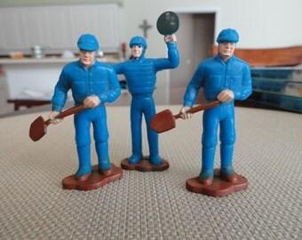 """989)  1987 Remco Toys 2"""" Maintenance Men Figures Blue Uniforms"""