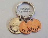 Uncle aunt coin keychain key chain keyring key ring fob custom personalized quarter and penny coin keychain.