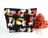 Knitting Project Bag / Crochet Project Bag / Zipper Bag / Knitting Bag / Make-up Bag - Foxy!