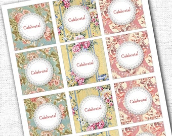Shabby Chic Cupcake Toppers Printable Instant Download