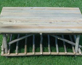 Twig Plank Top Coffee Table, Rustic Wedding Gift, Anniversary Gift, Free Shipping