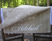 Burlap Here Comes The Bride Banner Rustic Wedding Sign Personalized 2 Layers Large