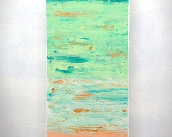 Abstract 1154 | Original Fine Art by Crystal Henson | Vibrant Beachy Painting in Coral, Cream, Teal, and Seafoam FREE DOMESTIC SHIPPING