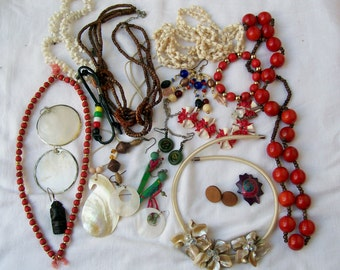 Vintage Red ISLAND JEWELRY LOT Destash Shell Wood Upcycle Crafting Wearable Create Resale 9