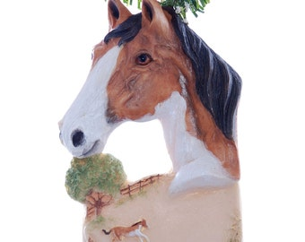 Horse Christmas ornament - beautiful buckskin paint horse ornament personalized with name or phrase - handmade in the USA (h70)