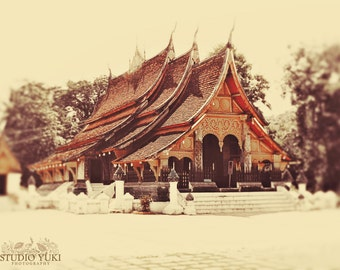 Travel Photography, Temple, Buddhist Art, Buddhism, Asian Art Print, Laos, Luang Prabang, Neutral Home Decor, Yoga Room, Thai Style, Zen Art