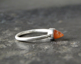 Painted Rock Agate Bullet Ring in Sterling Silver