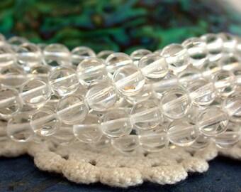 6mm Druks, Crystal Clear Czech Glass Beads, Czech Glass Druks, Round Glass Beads, Crystal Beads CZ-313