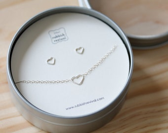 Sterling Hearts - Necklace and Earring Set