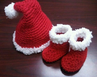 SANTA or ELF Hat & Boots Crochet PATTERN / Scrooge Hat Pattern / Elf Hat Pattern / Santa Boots Pattern / Baby Crochet Santa Hat Pattern