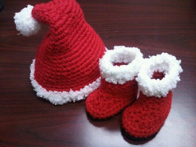 Quick Easy Crochet Baby Hat Pattern : SANTA or ELF Hat & Boots Crochet PATTERN / Scrooge Hat Pattern