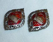 Vintage Asian  Sterling Silver Earrings Red Enamel and Gold Ancient Ship with Diamond Shape Filagree Setting
