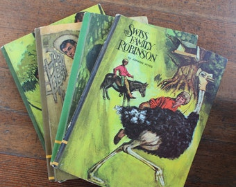 A Set of 4 Vintage Children's Books - Robin Hood, The Virginian, Jungle Book & The Swiss Family Robinson (Educator Classic Library - 1968)