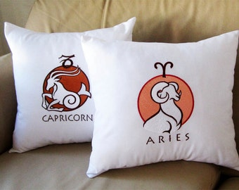 Set fo 2 - Zodiac Signs - Linen Pillow Western Country Rustic Decor - embroidered pillowcase, country pillowcase