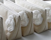 Country Wedding Clutches, Purse, Linen, Fall Wedding, Rustic Wedding, Bridesmaid Gift - Set of 3