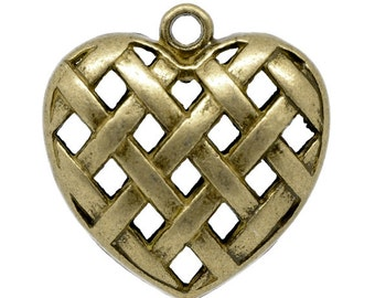2 Heart Pendants -  Woven Hollow - 3D - Large - 36x35mm - Ships IMMEDIATELY  from California - BC239