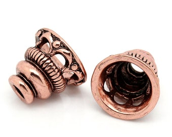 Copper Bead Caps Cone (Fits 18mm) - 10x9mm - 3pcs -  Ships IMMEDIATELY  from California - B1031