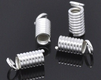 50 Silver Coils - End Crimp Fasteners - 9x4mm - Fits 2 - 2.5mm Cord - Ships IMMEDIATELY from California - F189