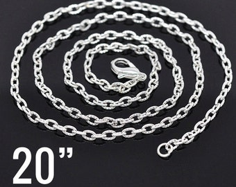 "100 WHOLESALE Necklaces Silver Textured Link Chains With Clasps 4.2x2.8mm 20""  - Ships IMMEDIATELY  from California - CH126d"